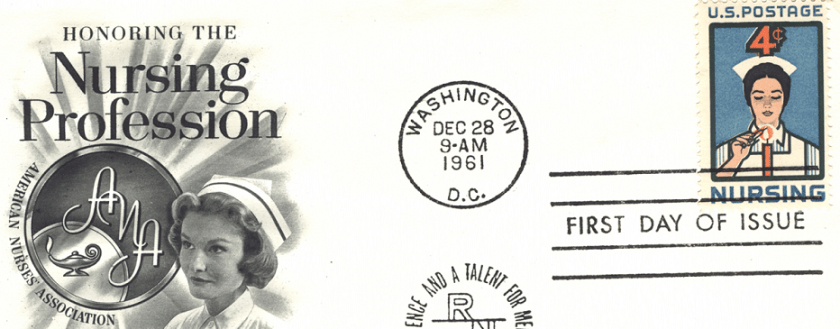 1961 First Day of Isue stamp on a card honoring the nursing profession. The stamp features an illustration of a nurse lighting a candle. On the card is a black and white headshot of a nurse next to a symbol for the American Nurses' Association.