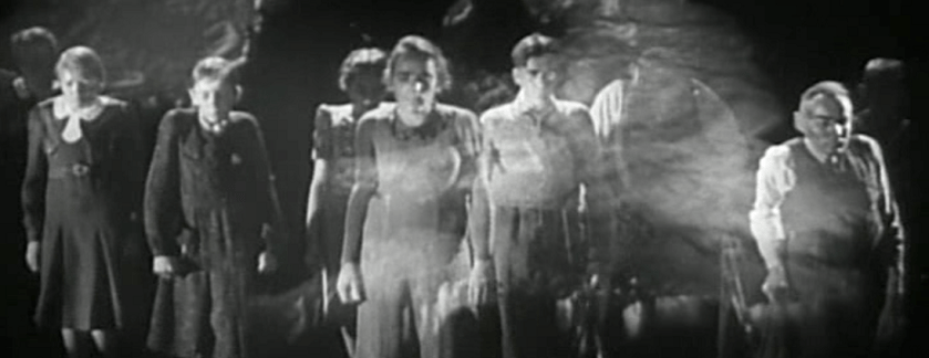 A scene from the beginning of the film shows a procession of people of different ages and sexes who suffer from rickets.