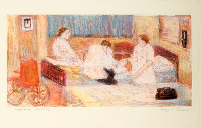 Artist May Lesser drawing of a resident examining a child patient with rheumatoid arthritis.