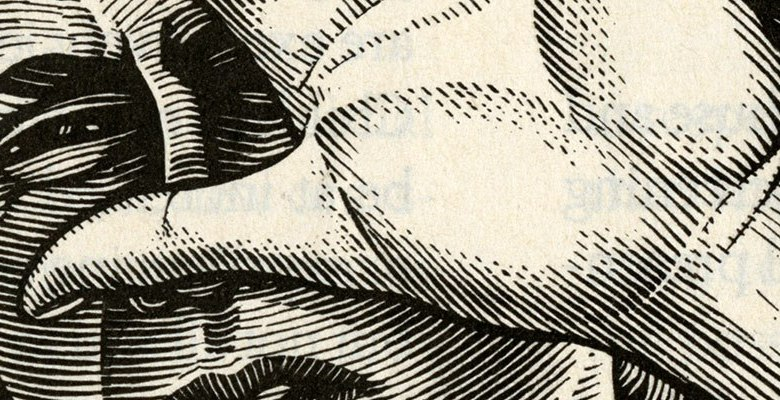 Detail of engraving style illustration of a woman holding up a hand in defense.