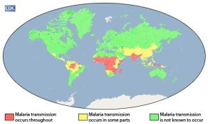 A world map showing malaria transmission generally heavy around the equator declining toward the poles.
