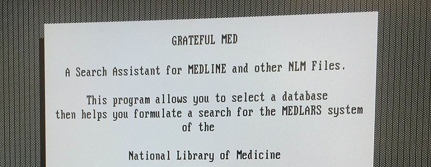 Detail of computer screen displaying Greatful Med homescreen.