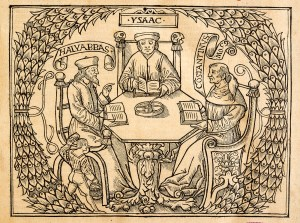 An illustration shows three men seated at a hexagonal table surrounded by greenery, the men are labeled Halvabbas, Ysaac, and Constantinus.