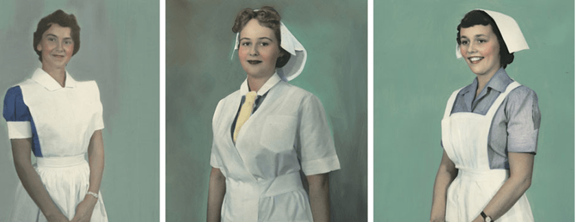 Photographs of 3 woman in nursing uniforms, generally including variations on a collared shirt, cap and apron.