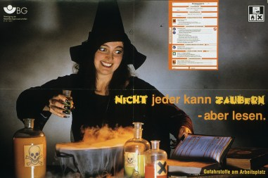 """A woman dressed as a witch is mixing a smoking concoction in a large pot. Bottles are filled with orange and yellow liquids, and bare either a skull and crossbones or a large black """"X"""" indicating poison. A book is open beside her, and an enlarged version of the page she's reading appears above her head"""