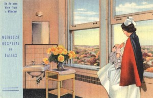 Illustration of a nurse in a hospital nursing room decorated with a bouquet of yellow flowers. She is standing by a window with an autumn view feeding a baby