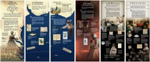 Design layouts in colonial colors featuring images of slaves the Washington family along with maps, books, and houshold artifacts.