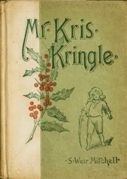 Decorative cover of a hardback book with a holly branch and a boy with a sword on the cover.