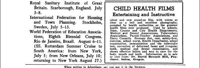 Boxed text only ad for Child Health Films in a medical journal.
