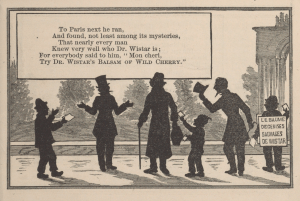 An illustrated poem depicts a man talking with others in a park in silhouette.