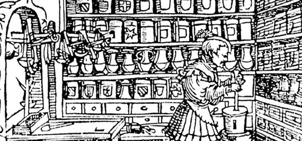 Woodcut engraving of an apothocary working in his shop.