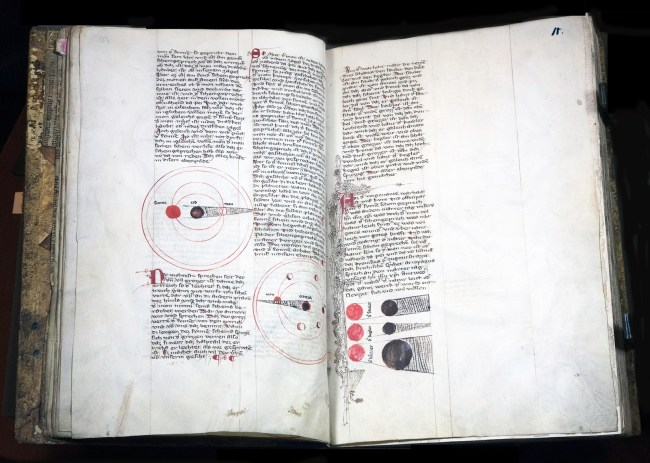 Pages from a manuscript book in German with figures depicting cirles and celestial orbits in red and black ink.