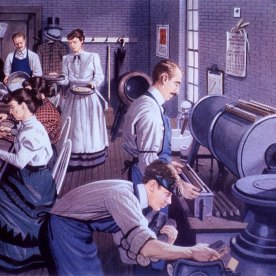 Illustration of men and women working at machines and tables.