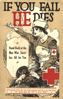 Postcard featuring a color illustration of a nurse with a wounded or dead soldier in her lap and a red cross arm band..