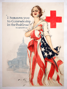 An illustrated poster of a woman holding an American flag with the Red Cross symbol behind her.