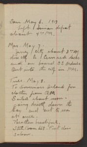 Dr. Blankenhorn diary page for May 6-8, 1917.