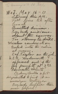 Dr. Blankenhorn diary page for May 16, 1917.
