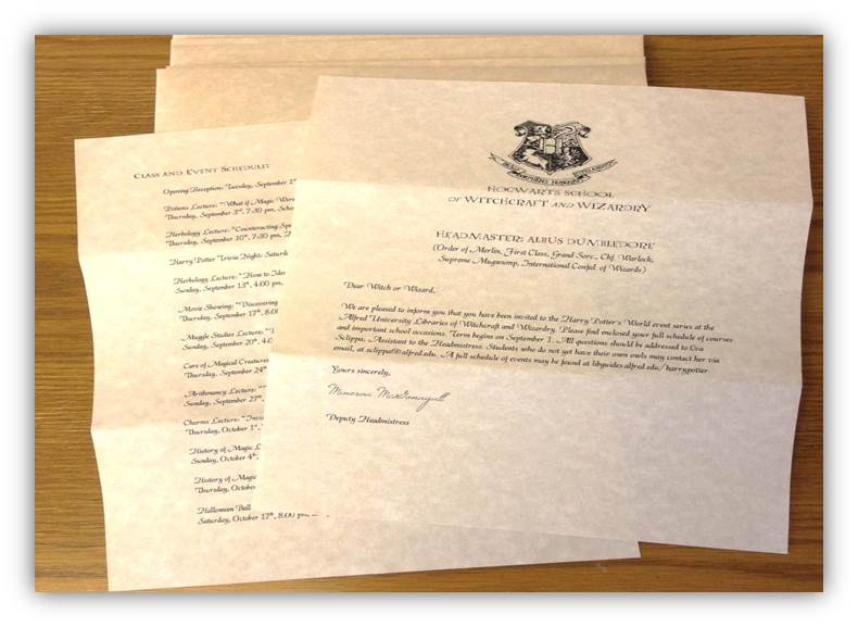 Photograph of the Hogwarts Acceptance Letter marketing materials.