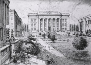 An engraving of a courtyard surrounded by classical buildings.