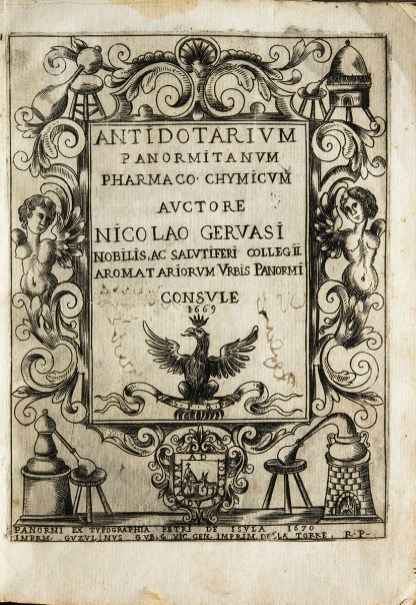Titlepage woodcut elaborately decorated with alchemical equipment, angels, botanicals, a shield and a crowned eagle.
