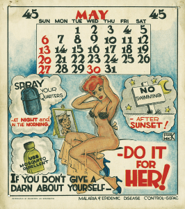 Upper half of illustration consists of a calendar and lower half consists of a woman looking at a picture frame of a solider.
