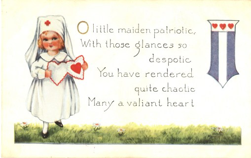 Postcard featuring a color illustration of a little girl dressed as a Red Cross nurse holding an open heart-shaped card.