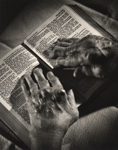 A Pair of Elderly Hands Rests on a Bible