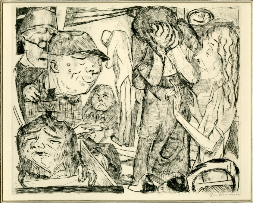 An etching of several distorted figures in a room.