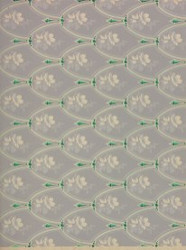 A shield type pattern with green pendants and white flowers on a grey background.