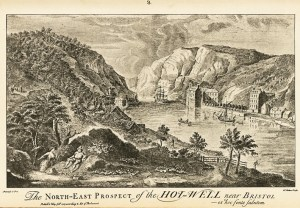 A harbor and hillside landscape engraving captioned The North-East Prospect of the Hot-Well near Bristol.