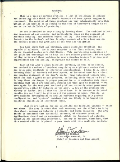 A page of text in a typewritter font headed Forward and signed by Arthur G. Trudeau, Lieutenant General, GS Chief, of Research and Development.