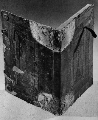 Black and white photograph of an open book.