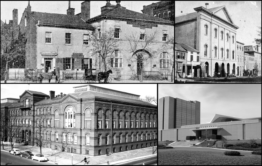 Collage of four photographs of the National Library of Medicine