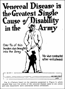 Poster illustrated with a cartoon of a small silhouette of a solder in front of a large drawing of a civilian man.
