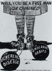 Caricature of the bottom half-length of a soldier with metal rings fastened about the ankles and attached by chain to large, heavy balls on which are written, Venereal Disease, and Enslaving Habits.