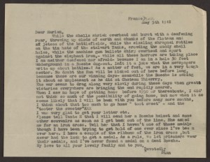 A typwritten letter from Stan to Marian, dated November 5, 1918, France.