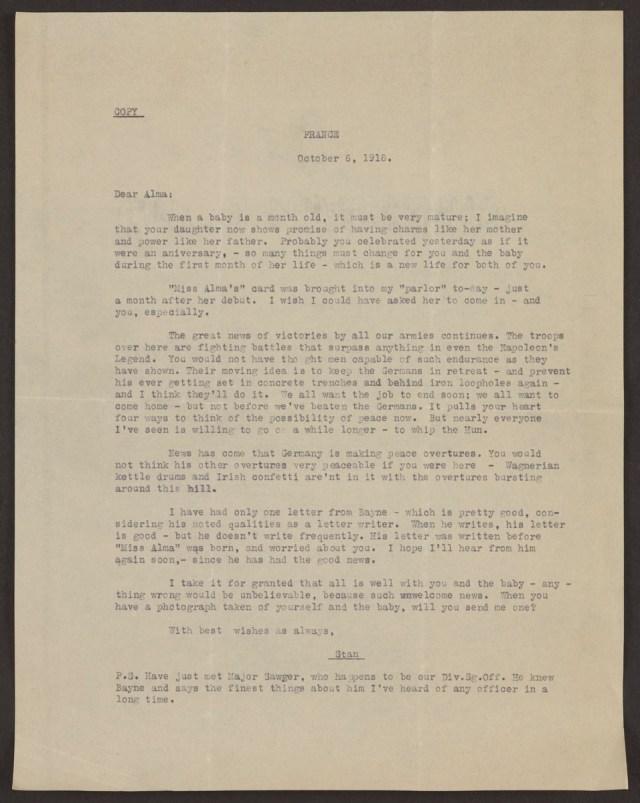 Bayne-Jones letter 11-6-1918 – Circulating Now from NLM