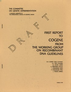 A draft report from the Committee on Genetic Experimentation convened by Dr. Cohen.
