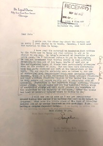 A letter from Dr. Loyal Davis commenting on the work of DeBakey, White, and Greene.