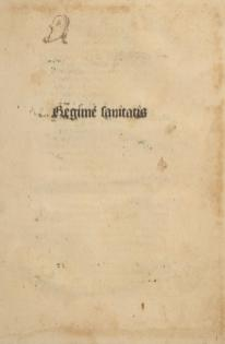 A titlepage reading Regime Sanitatis with a small doodle in the upper left corner.
