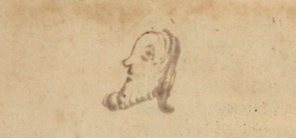 A close up of a simple ink drawing of a man's head in profile.