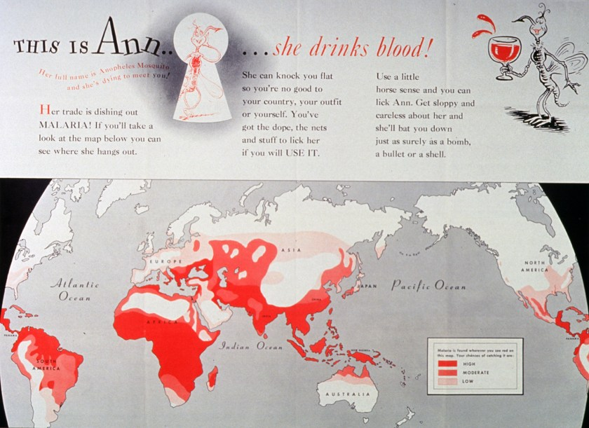 Illustration of an Anopheles malaria mosquito drinking a glass of blood. Illustration includes map of the world indicating malaria prevalence.