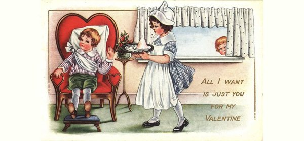 Postcard featuring a color illustration of a girl dressed as a nurse bringing something on a tray to a boy sitting in a chair.