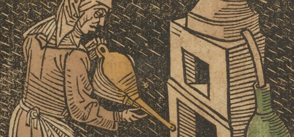 "woman tending to a ""Rosenhut"" distilling furnace with bellows in hand and an alembic to the right."