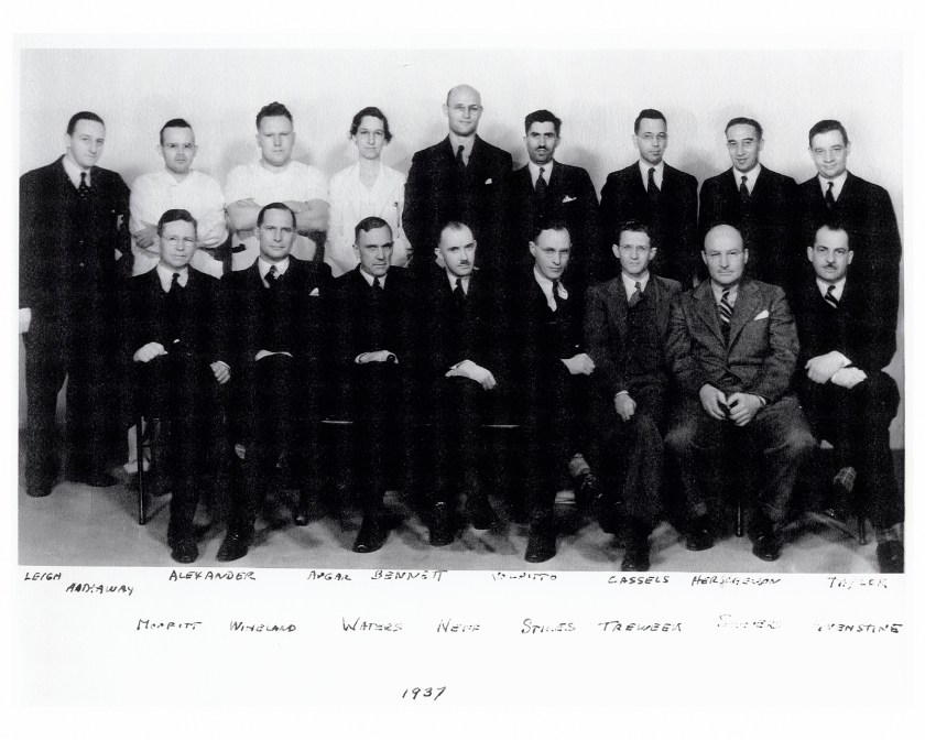 Portrait of one white woman and 16 white men
