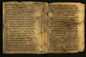 A piece of parchment with Latin manuscript text well aligned on it and creases and holes from being sewn as a binding.