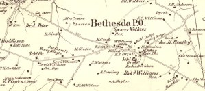 Map of Bethesda, MD from 1879 naming the local land owners