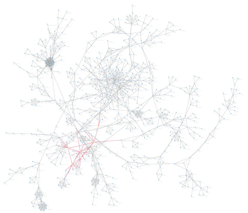 A network diagram visualizing the closeness and betweenness of authors.