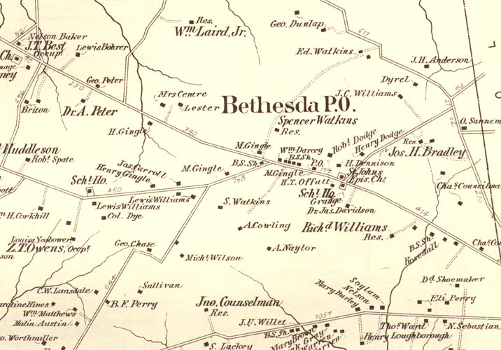 Map showing the region as Bethesda P.O. with the names of residents, including Dr. A Peter and M. Gingle