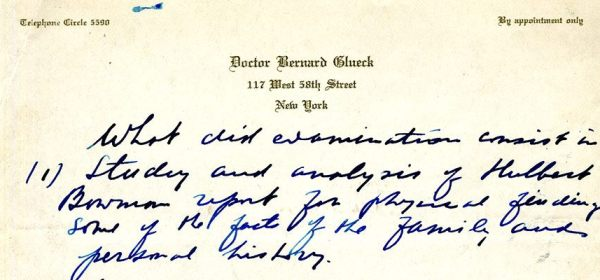 A handwritten list of objectives on Glueck's letterhead.